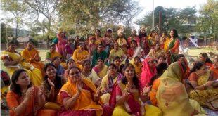 स्वर्ण वाटिका में राधाकृष्ण थीम पर मनाया फागोत्सव
